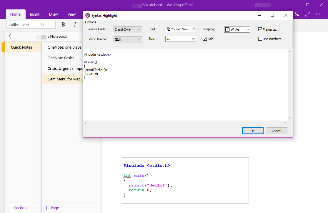 Gem Menu for OneNote UWP - Syntax Highlight